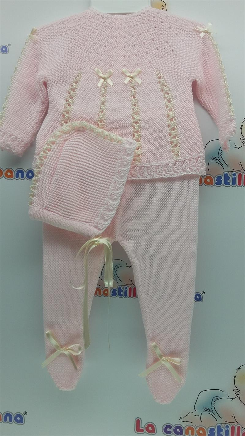 3 Pcs Knitted Set With Bonnet Lcc3030
