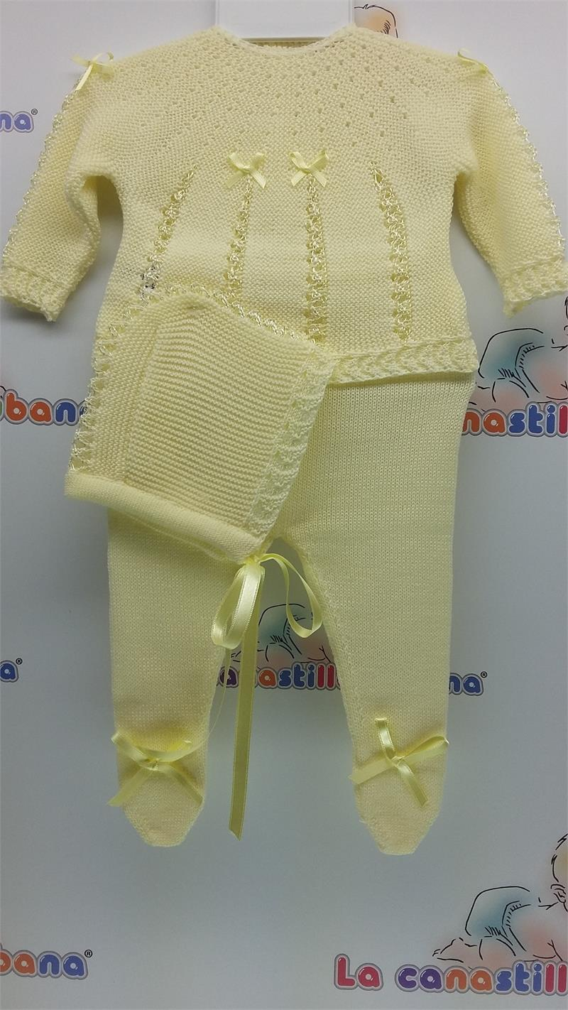 3 Pcs Knitted Set With Bonnet Lcc3029