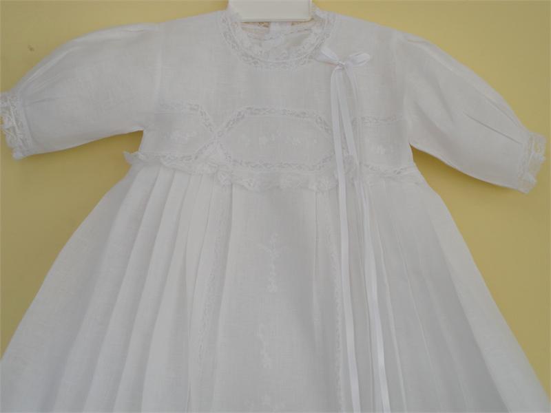 Baptism Linen Gown Cargador De Bautizo En Olan De Hilo